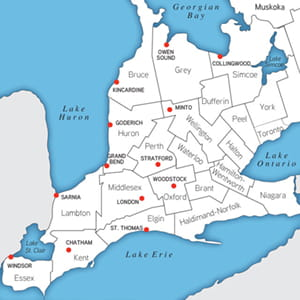 Map showing the Southwestern Ontario region and various urban centres and  municipalities served by Colliers International London Brokerage