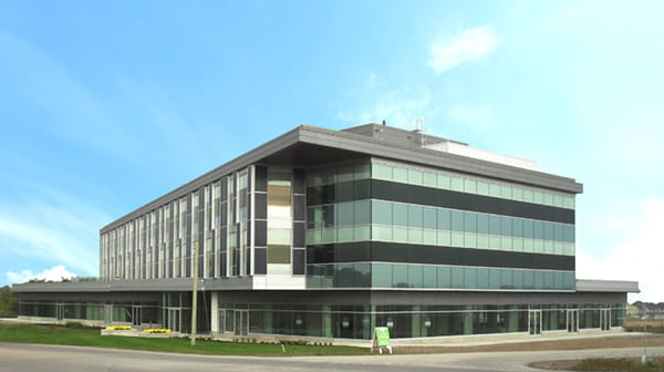 View of the West Five 'Sifton Centre' commercial building with modern contemporary design